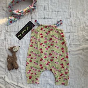Mustard Pie Matching Sets - Vintage floral romper with matching bow headband